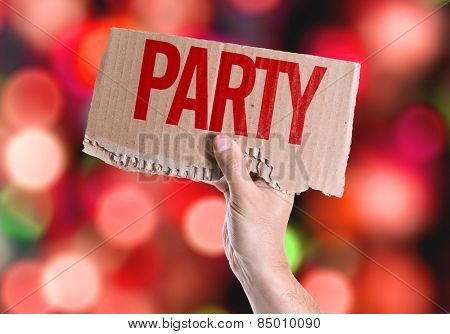 Party card with colorful background with defocused lights