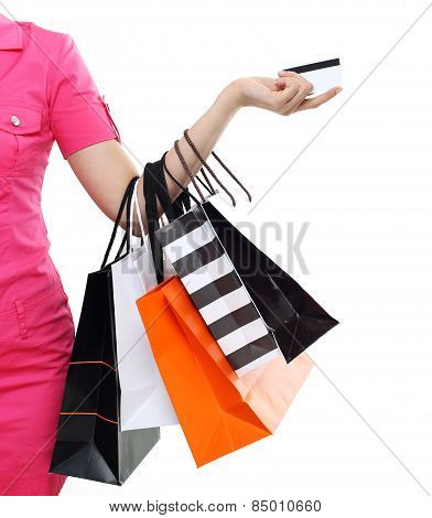 Shopping women asian happy smiling holding shopping bags by credit card isolated on white background