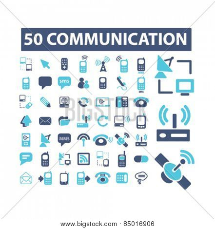 50 communication, connection, technology isolated icons, signs, illustrations concept design set on background for mobile application, website, adverisement, vector