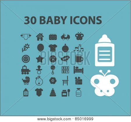 30 baby, children, kid isolated icons, signs, illustrations concept design set on background for mobile application, website, adverisement, vector