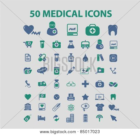 50 medicine, health, medical, healthcare isolated icons, signs, illustrations concept design set on background for mobile application, website, adverisement, vector