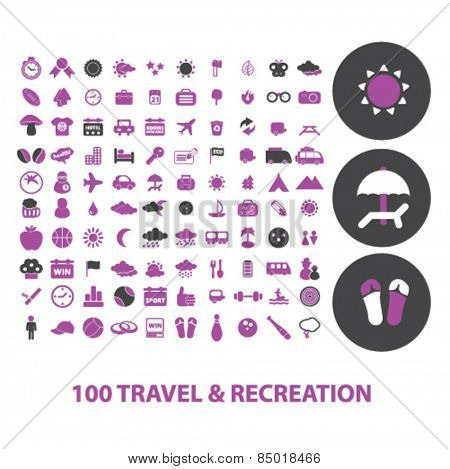 100 travel, recreation, tourism, beach isolated icons, signs, illustrations concept design set on background for mobile application, website, adverisement, vector