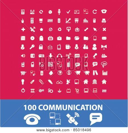 100 communication, connection isolated icons, signs, illustrations concept design set on background for mobile application, website, adverisement, vector