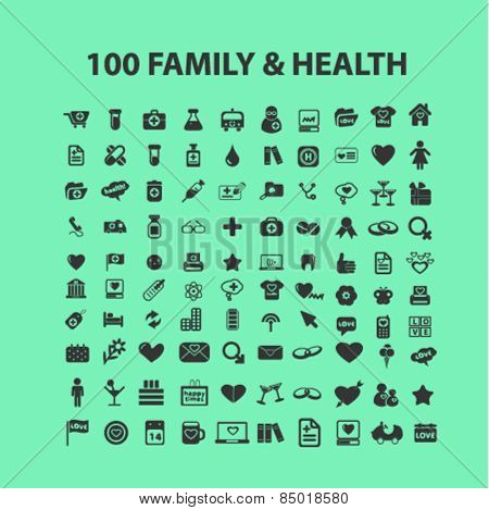 100 family, health isolated icons, signs, illustrations concept design set on background for mobile application, website, adverisement, vector