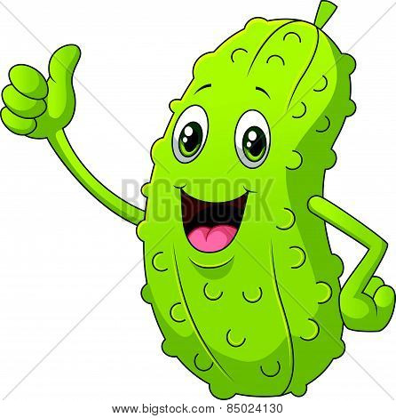 Smiling Thumbs Up Pickle cartoon