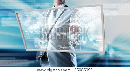 Businessman Working On New Technology Digital Screen, Business Technology Concept