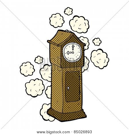 retro comic book style cartoon dusty old grandfather clock