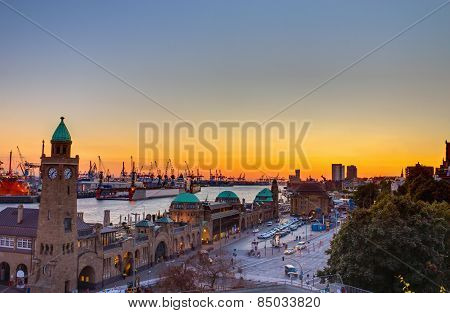 The Hamburg harbour at sunset