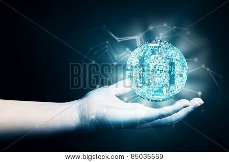 Hand with holographic projection, Future Projecting concept