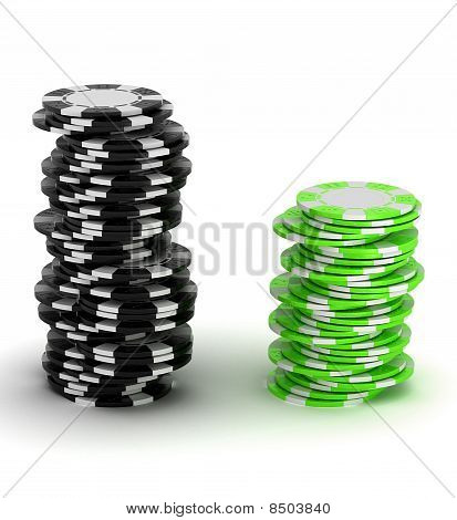 Black And Green Casino Chip Stacks