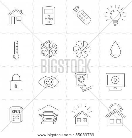 Smart Home and Smart House line icons. Home automation control systems. Simple outlined icons. Linear style