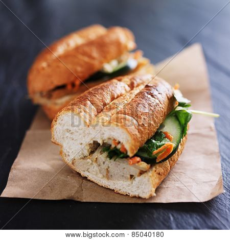 vietnamese bahn mi sandwich halves