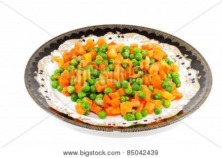 Fresh Raw Carrots and Green Peas