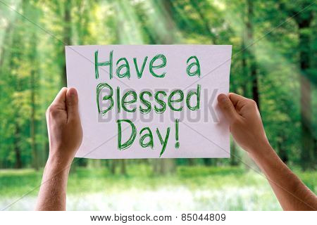 Have a Blessed Day card with nature background