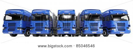Blue truck fleet for freight delivery in forwarding agency (3D Rendering)