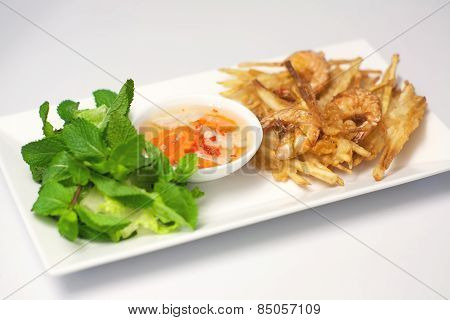 Banh Tom Chien, Vietnamese Deep Fried Shrimps Amd Sweet Potatoes Fritters