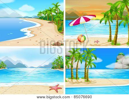 four scenes of beaches