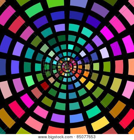Circles of multicolored blocks on a black background.