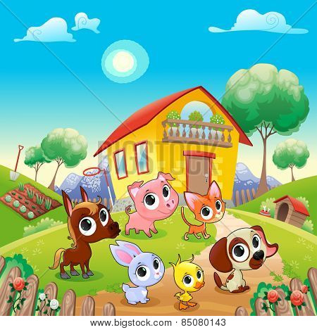 Funny farm animals in the garden. Cartoon vector illustration