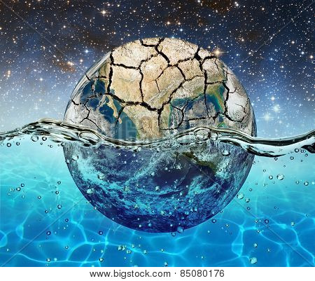 Planet Earth Is Submerged In Water On The Background Of The Starry Sky