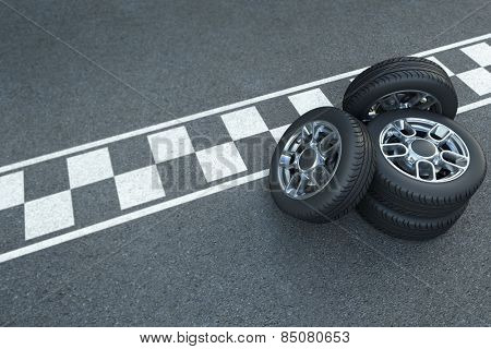 3D rendering Pile of wheels on the asphalt with car race signage