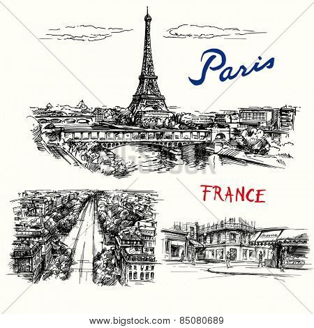 France, Paris, Eiffel tower - hand drawn vector collection