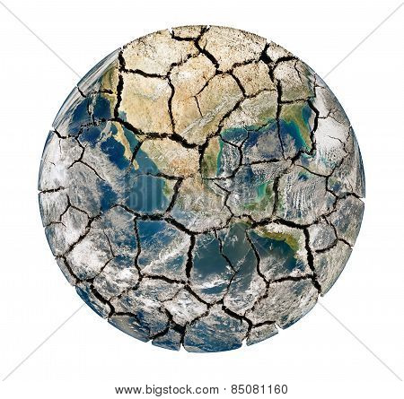 Cracked Earth Planet Isolated On A White Background