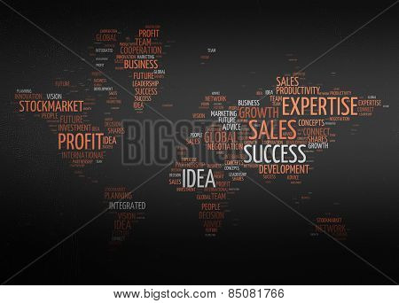 Conceptual Word Cloud Design of World Map with Business Keywords on a Gray Gradient Background.