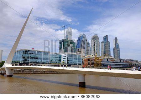 View of Puente de la Mujer, Puerto Madero in Buenos Aires