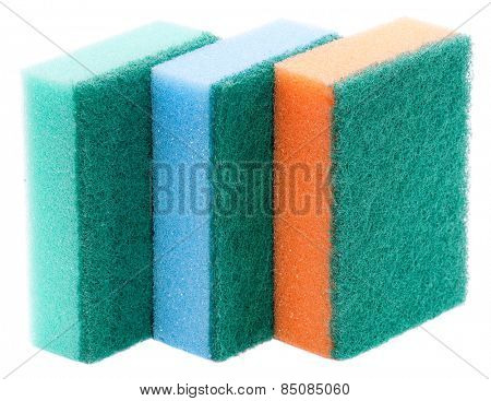 multi-colourful kitchen sponges for ware washing - isolated on white background