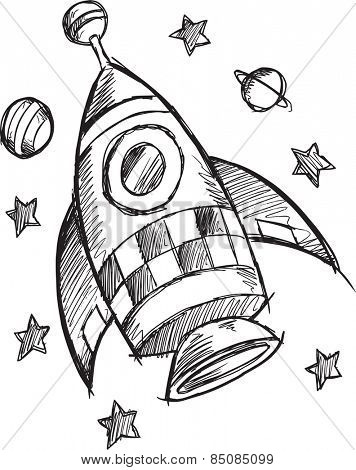 Doodle Sketch Rocket Vector Illustration Art