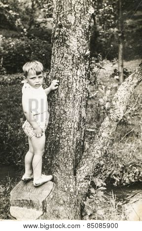 Vintage photo of little boy on tree trunk, early 1950's