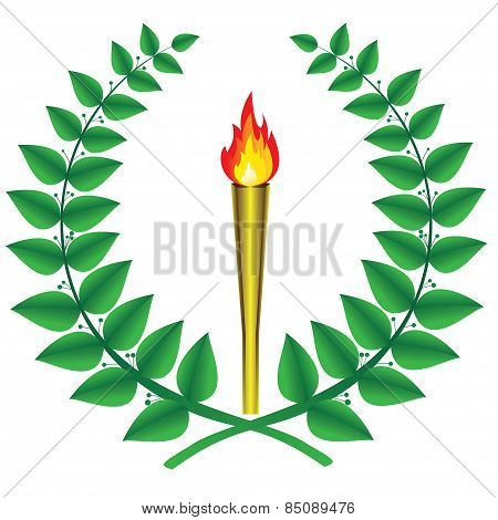 laurel wreath and a torch