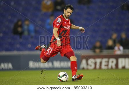 BARCELONA - JAN, 22: Nico Pareja of Sevilla FC during spanish League match against RCD Espanyol at the Estadi Cornella on January 22, 2015 in Barcelona, Spain