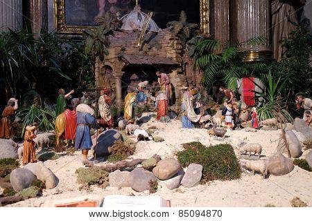 GRAZ, AUSTRIA - JANUARY 10, 2015: Nativity scene, creche, or crib, birth of Jesus in Graz Cathedral dedicated to Saint Giles in Graz, Styria, Austria on January 10, 2015.