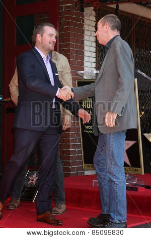 LOS ANGELES - MAR 5:  Chris O'Donnell, ?Miguel Ferrer at the Chris O'Donnell Hollywood Walk of Fame Star Ceremony at the Hollywood Blvd on March 5, 2015 in Los Angeles, CA