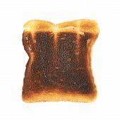 Burnt toast bread slice isolated over the white backrgound poster
