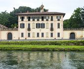 Cassinetta di Lugagnano (Milan Lombardy Italy): the historic Villa Visconti along the Naviglio Grande poster