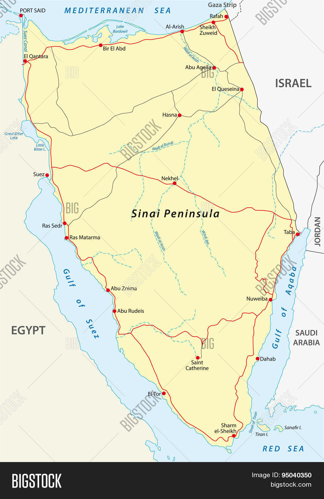 Sinai Peninsula Map Vector & Photo (Free Trial) | Bigstock