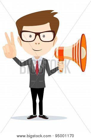 Handsome businessman shouting in loudspeaker over white background