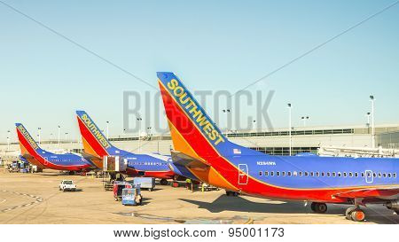 Southwest Airplanes at Chicago Midway International Airport.