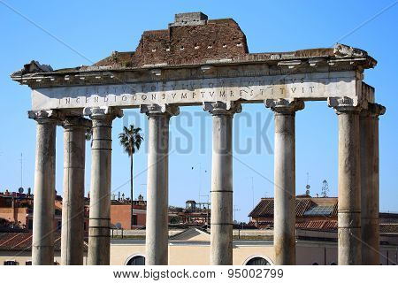 The Roman Forum Ruins In Rome, Italy