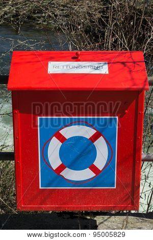 Life Belt Box at river Glatt in Switerland poster