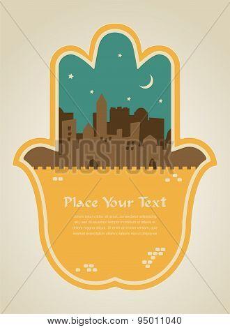 hamsa hand with Jerusalem skyline. illustration card
