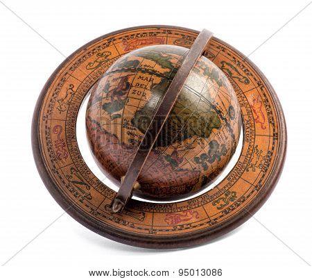 Old Vintage Wooden World Globe
