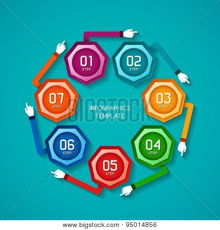 Abstract Vector 7 Steps Infographic Template In Flat Style For Layout Workflow Scheme