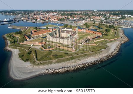 Aerial View Of The Old Castle Kronborg, Denmark