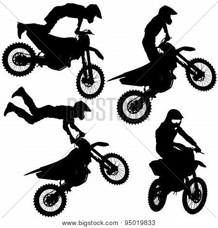 Set Silhouettes Motocross Rider On A Motorcycle. Vector Illustra