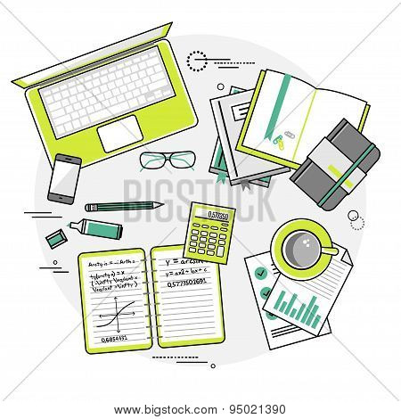 Flat linear design vector illustration concepts of education and online learning. Top view.