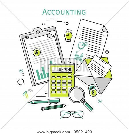 Flat linear vector icons  illustration design concepts for business and finance. Top view. Concepts for taxes, finance, bookkeeping, accounting, business, market etc. poster